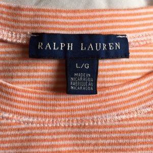 Ralph Lauren Tops - 💥 3/$25 Ralph Lauren Orange Stripe Tee Sz L   C30